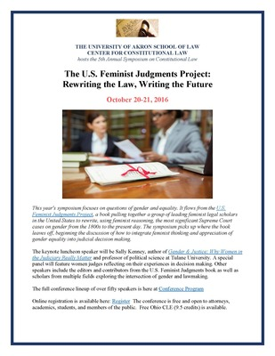 The U.S. Feminist Judgments Project: Rewriting the Law, Writing the Future